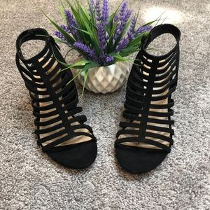 Super cute caged wedge booties